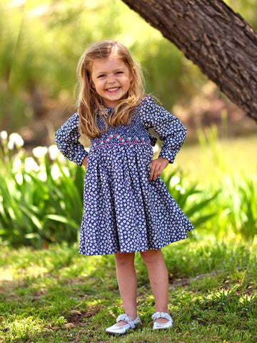 Girls Long Sleeved Hand Smocked Blue Floral Fall Dress In