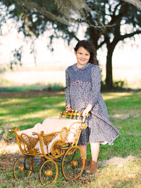 Girls Long Sleeved Hand Smocked Blue Floral Fall Dress in Pima Cotton