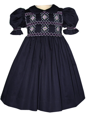 Baby Girls Navy and Lavender Smocked Dress 24m