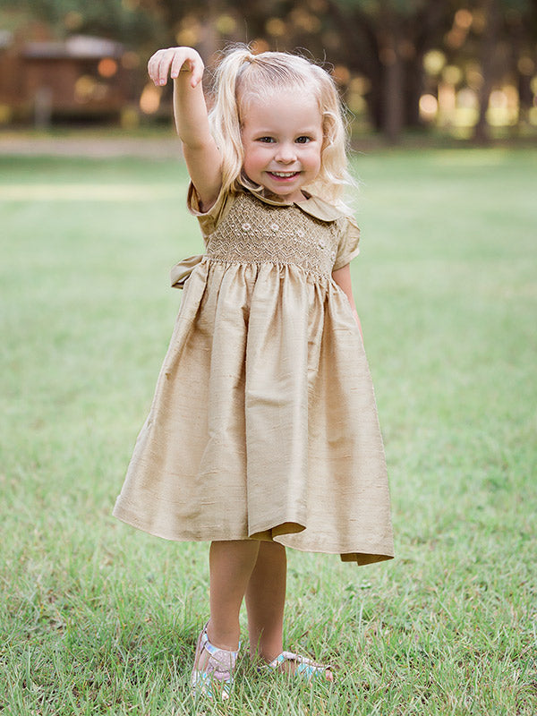 Hand Smocked Golden Heirloom Dress for Girls
