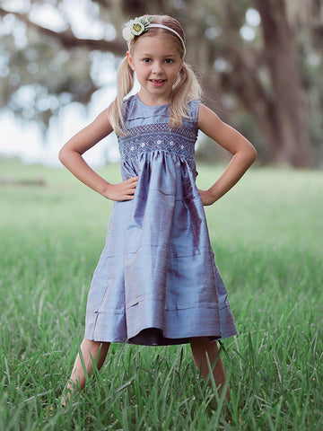 Flower Girls Blue Silk Hand Smocked Dress