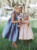 Flower Girls Silk Pink Hand Smocked Sleeveless Dress