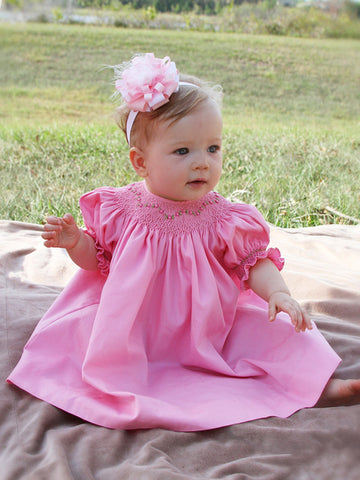 Hand smocked Baby girls pink dress bishop
