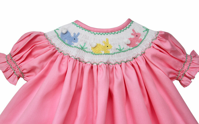 84f0953cc ... Girls Easter Bishop Dress with Smocked Pink Bunny--Carousel Wear - 6