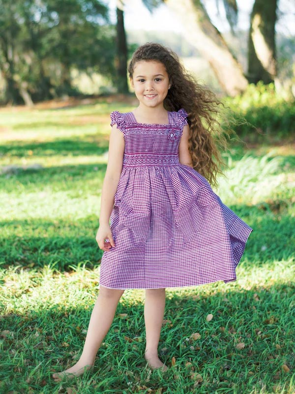 Flower Girls Silk Smocked Purple Dress