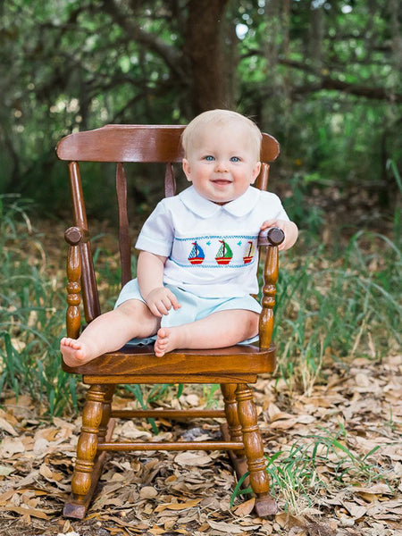 Prince George smocked sailboat suit set