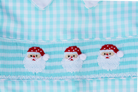 Little boys smocked Santa Claus Christmas Outfit