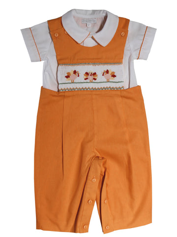 Boys Hand Smocked Thanksgiving Turkey Longall with Shirt 2T