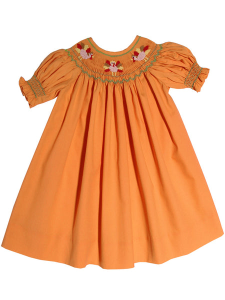 Hand Smocked Thanksgiving Turkeys Girls Bishop Dress