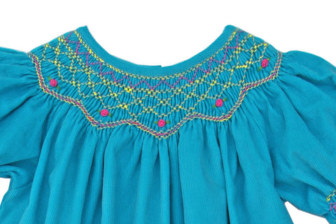 Girls Smocked Winter Bishop Dress in Turquoise Corduroy