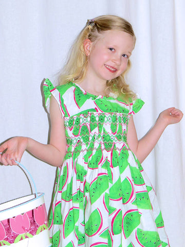 Smocked Watermelon Girls Summer Dress