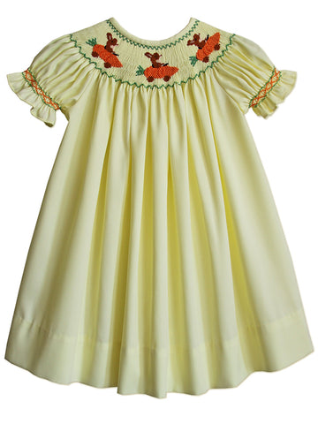 Hand smocked Easter bunny yellow bishop dress for baby girls
