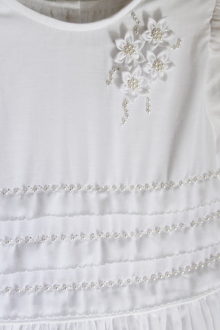 Hand Embroidered Girls White dress size 16 y
