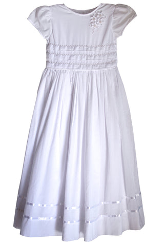 Handmade white girls dress with pearl beads and satin ribbon size 16