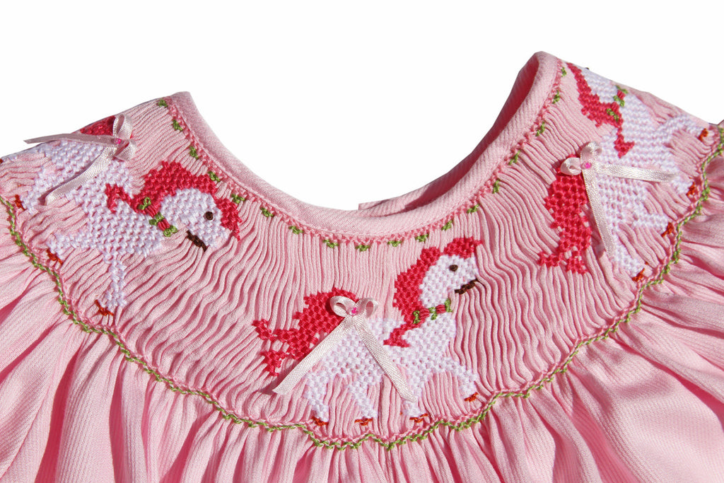 8ad2299d3 ... 1; Baby Girls Pink Long Bubble Overalls with Smocked Carousel Horses--Carousel  Wear - 2