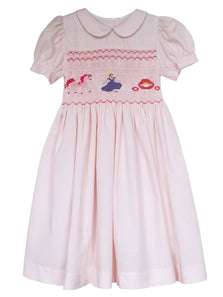 Cinderella Smocked in Back and Front Pink Girls Dress 5