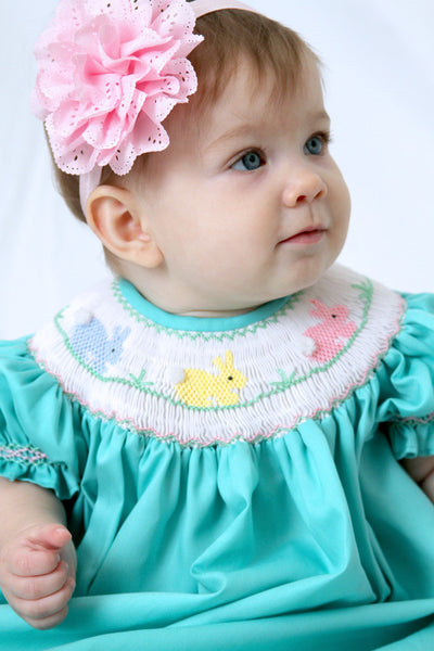 Aquamarine Girls Bishop Dress with Smocked Easter Bunny--Carousel Wear - 1