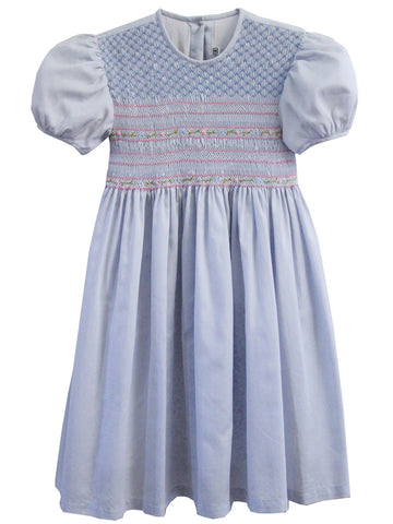 Hand Smocked Easter Girls Dress in Baby Blue Size 6