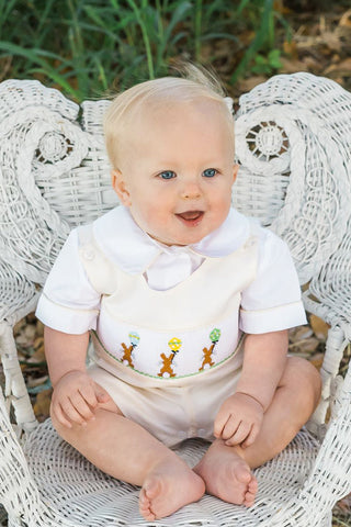 Boys Easter Shortall with Smocked Chocolate Bunny