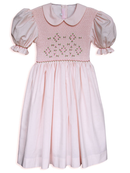 Hand smocked girls pink dress size 6 / 7