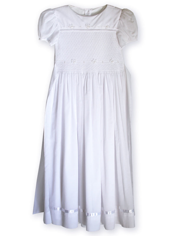 Hand smocked all white girls ceremony dress gown
