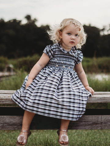 Black Plaid Special Occasion Smocked Silk Dress for Baby Girls