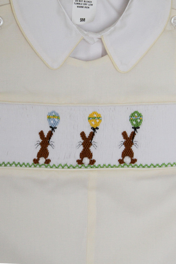2a2b466eba4c ... 1; Boys Easter Longalls Overalls with Smocked Chocolate Bunny--Carousel  Wear - 2