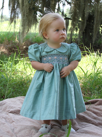 Hand smocked girls heirloom silk dress
