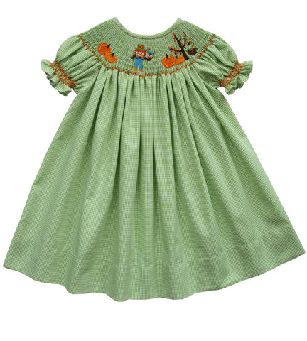 Thanksgiving Girls Bishop Dress with Hand Smocked Pumpkin Patch--Carousel Wear - 1