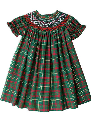 Hand Smocked Plaid Christmas Dresses for Baby Girls