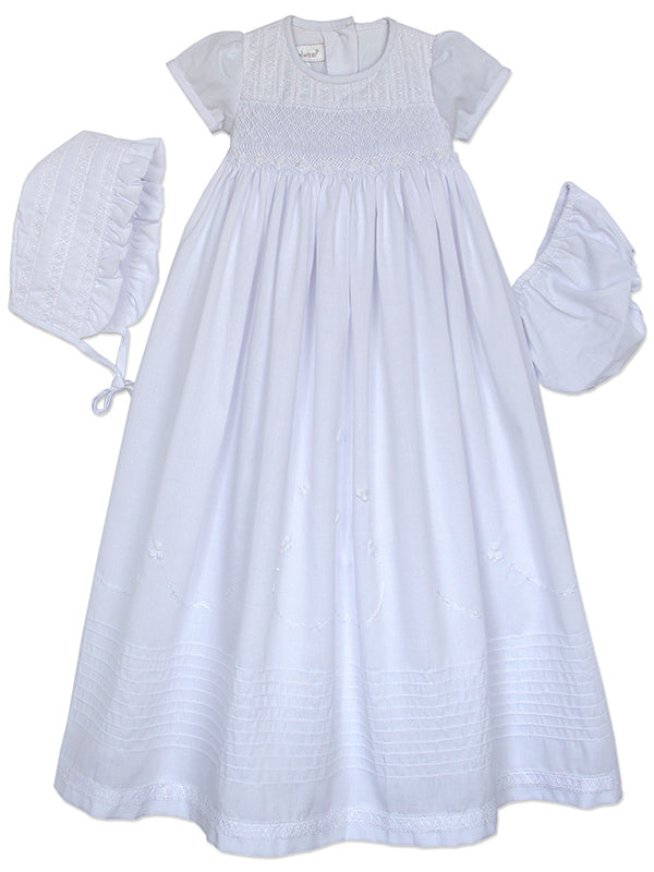 Baby Girls Christening Gown with Smocking, Lace Bonnet and Panty