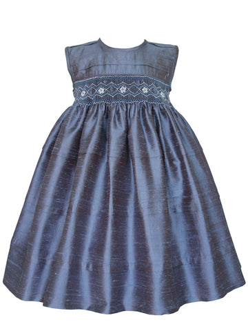 Baby Toddler Girls Blue Grey Silk Smocked Sleeveless Dress