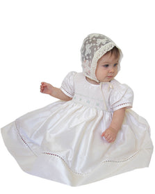 Baby Girls Heirloom Ivory Silk Dress for Special Occasions--Carousel Wear - 1