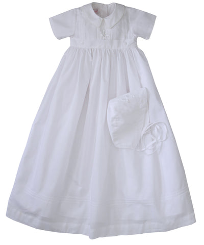 Little Boys Embroidered Cross Christening Gown in Cotton--Carousel Wear - 1