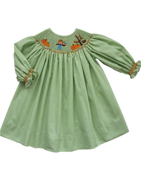 Thanksgiving Girls Bishop Dress with Hand Smocked Long Sleeves--Carousel Wear - 1