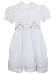 Vintage Girls White Organza Dress with Pink And Blue Smocking 5