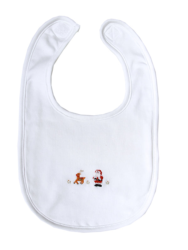 Pima Cotton Christmas Bib with Santa and Rudolph