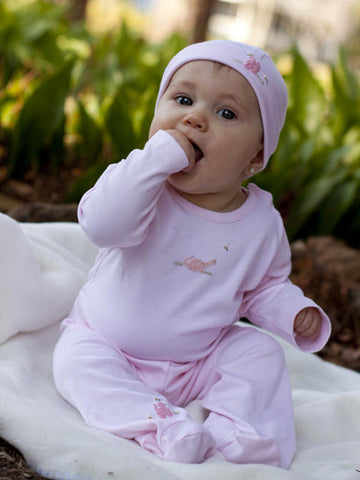 Infant Baby Girls Pink Long and Short Sleeve Onesie and Footsie Pants--Carousel Wear