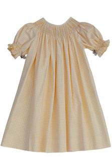 Ready for smocking girls bishop dress in yellow gingham cotton