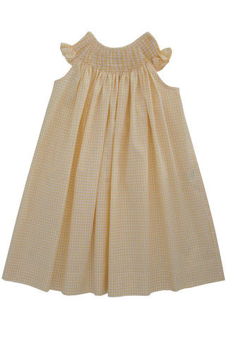 Ready for smocking girls summer bishop dress in yellow gingham cotton