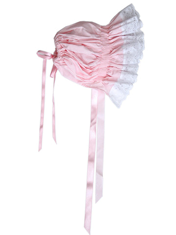 Ready to smock pink bonnet with lace