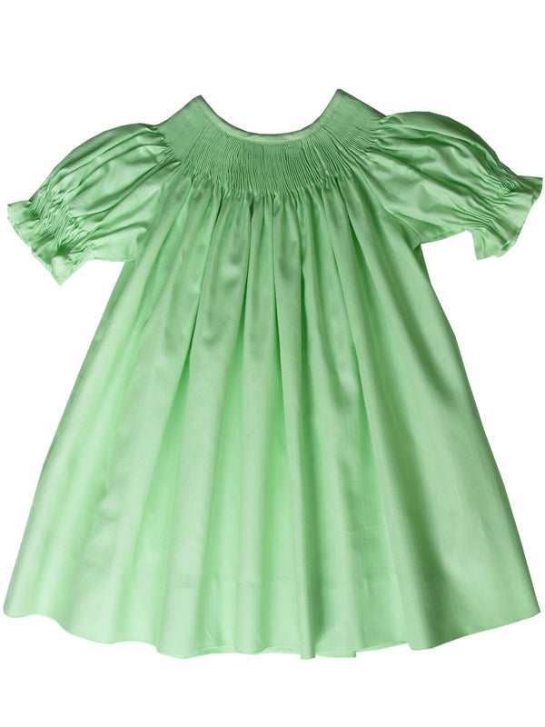 Girls Ready to Smock Bishop Dress in Green Pima Cotton