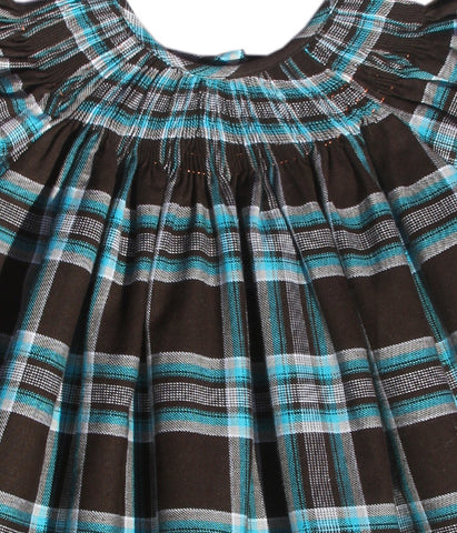 Girls Ready to Smock Plaid Black and Turquoise Dress for Fall and Winter--Carousel Wear - 2