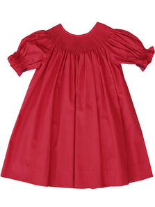 RTS Ready To Smock Red Christmas Bishop Dress