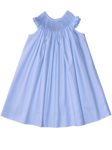 Ready To Smock Light Blue Girls Summer Bishop Dress