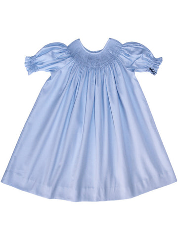 Ready To Smock Light Blue Girls Bishop Dress