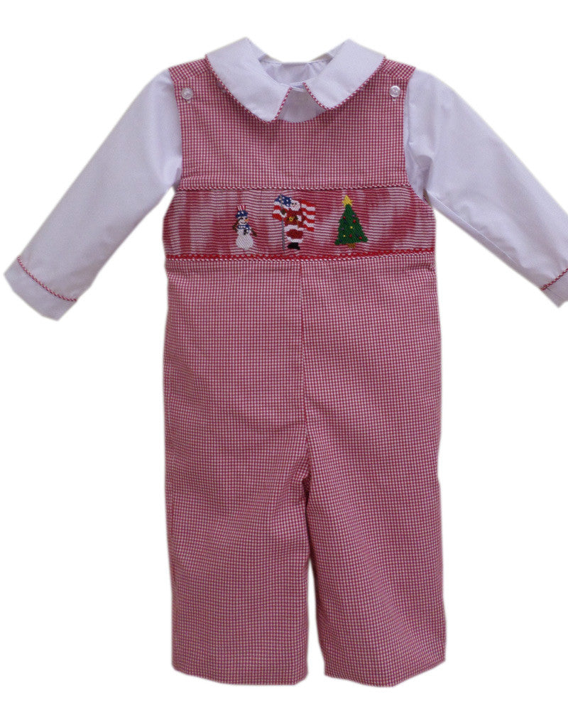 234882d48 Baby Boys Longalls with Smocked Santa Claus, Snowman and Christmas Tre