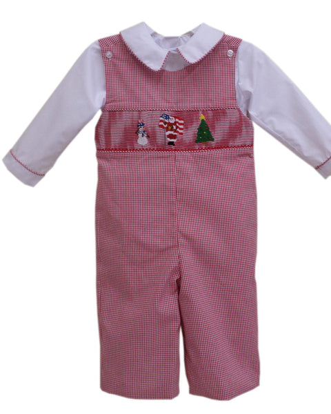Red Boys Christmas Longalls with Smocked Santa--Carousel Wear - 1