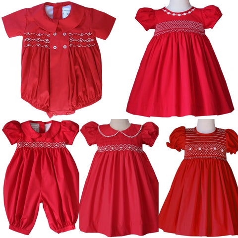 Abigail Red Christmas Smocked Girls Long Bubble--Carousel Wear - 2