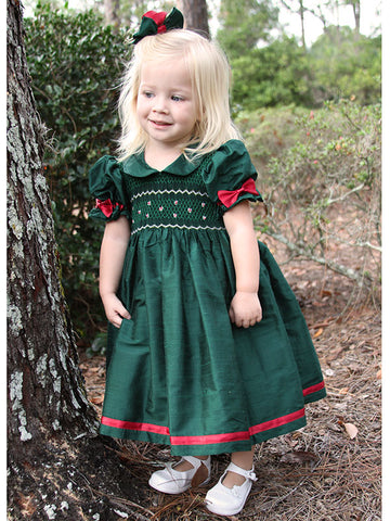 Green Silk Girls Smocked Dress with Red Ribbons